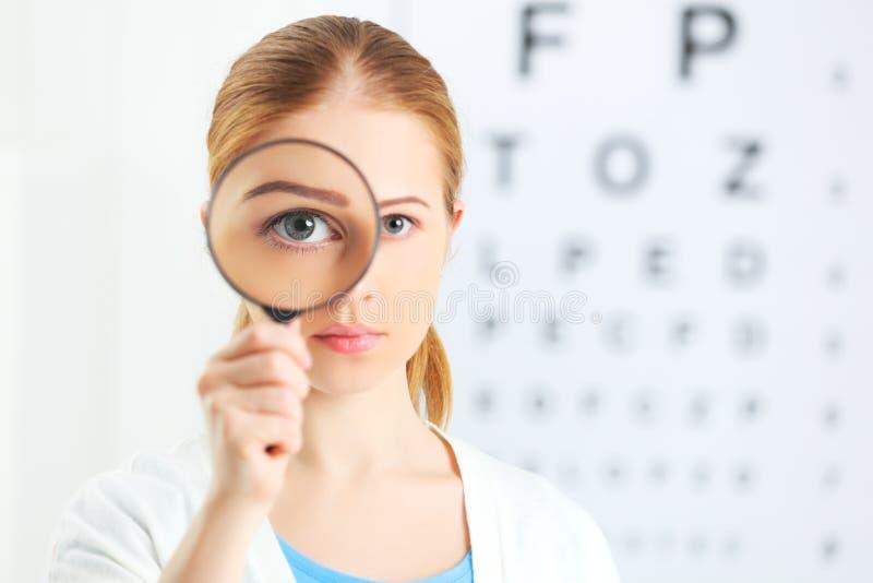 概念视觉测试 玻璃扩大化的妇女 免版税库存照片