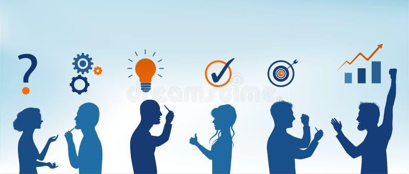 概念解决问题队 企业解答 分析和发现对问题的一种解答 战略和成功 客户ser 皇族释放例证
