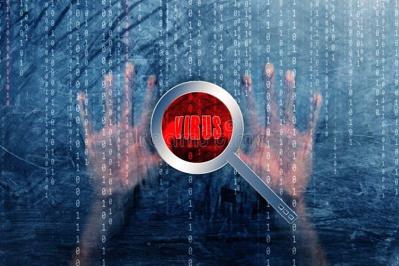 概念计算机病毒查出用人的手 库存例证