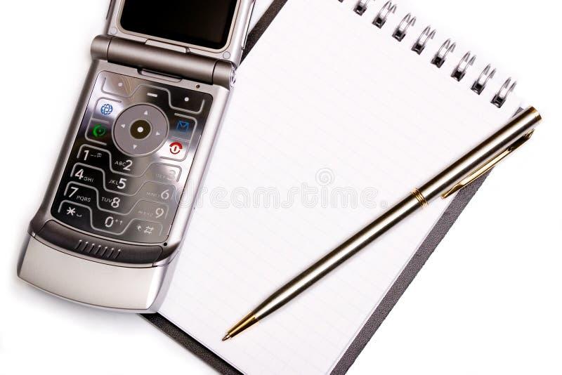 概念设备现代笔记本办公室笔电话螺&# 库存照片