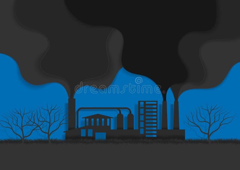 概念设计的工厂 环境和生态的污染与烟 E 皇族释放例证