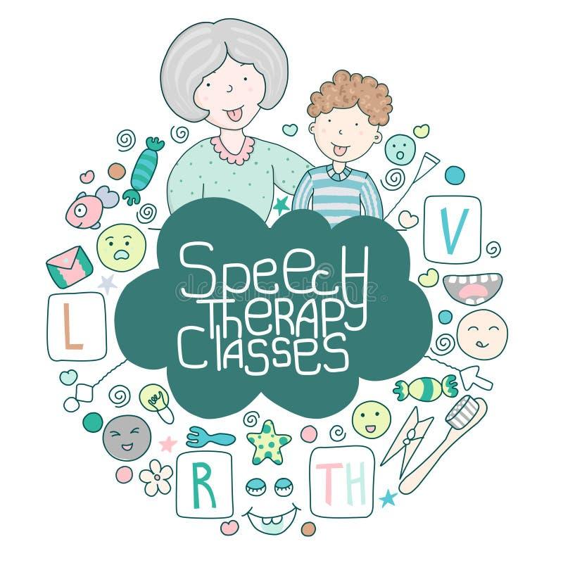 概念语音治疗标志 学校言论发展 和语言治疗师一起上课,还有一组可爱的卡瓦伊图标 库存图片