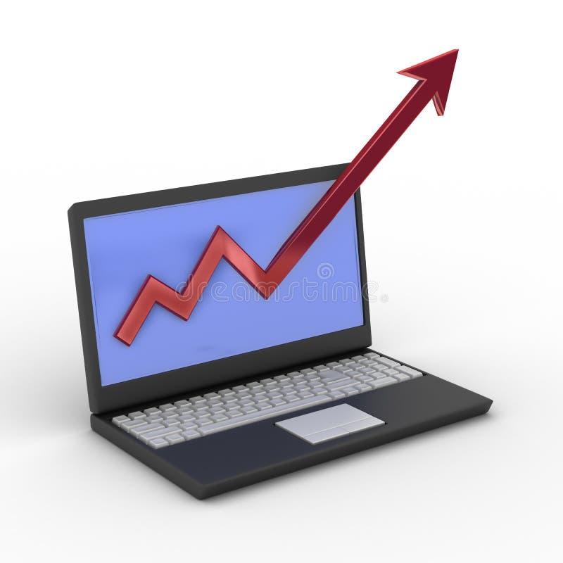 概念财务增长膝上型计算机 皇族释放例证