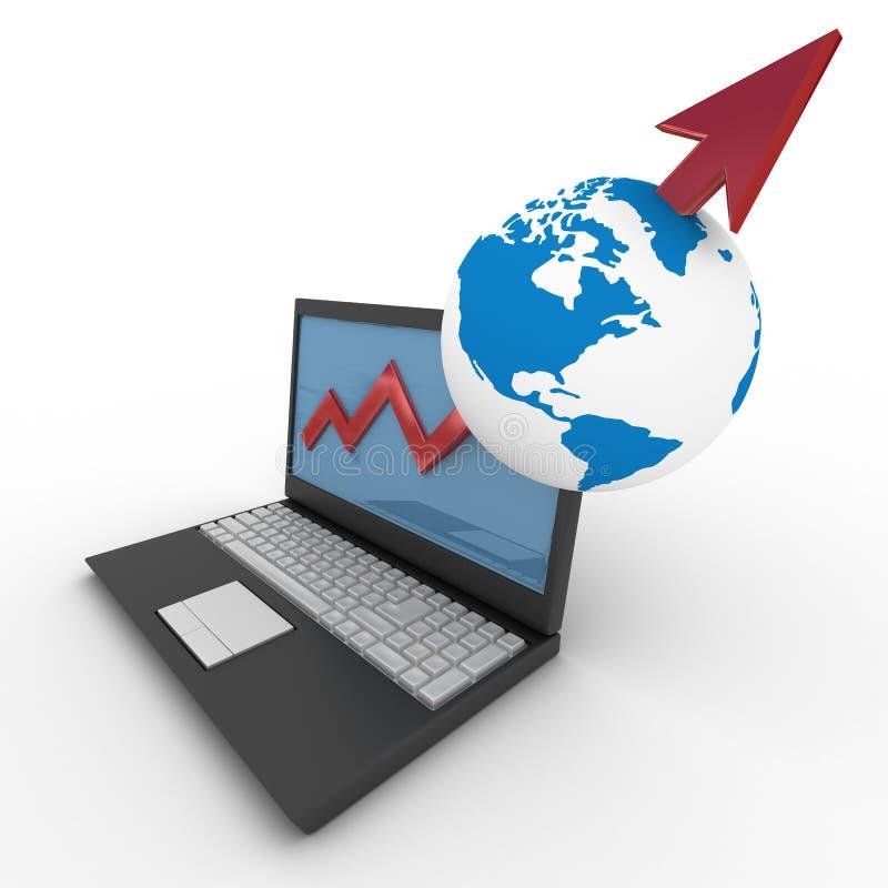 概念财务增长膝上型计算机 库存例证
