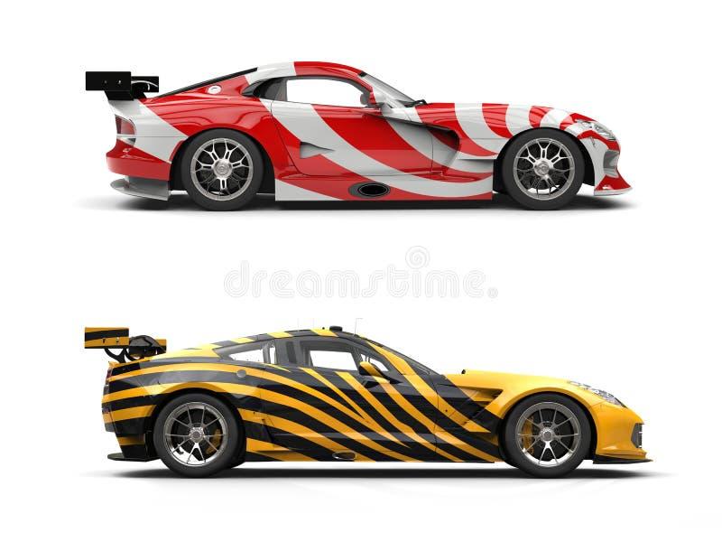概念跑车-异乎寻常的油漆工作 库存例证