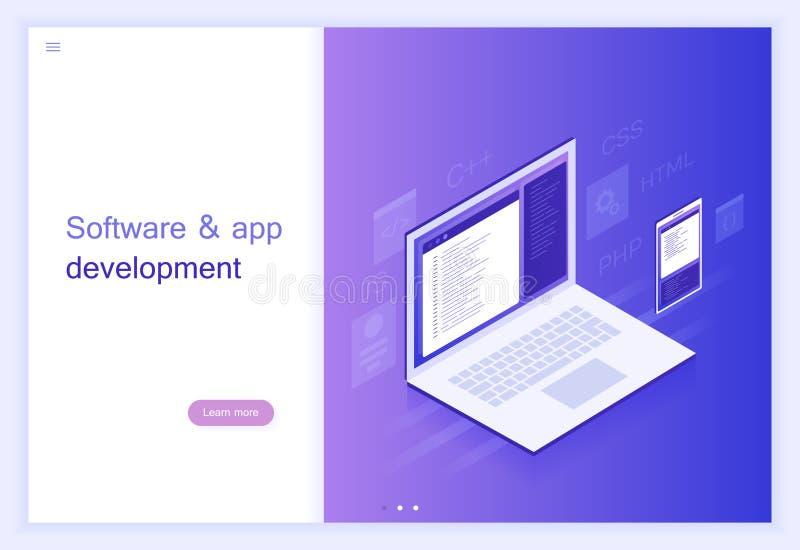 概念软件和应用程序发展、节目代码在膝上型计算机和手机屏幕,大数据处理 例证现代向量 库存例证