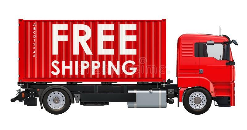 概念释放发运 有自由运输inscri的容器卡车 向量例证