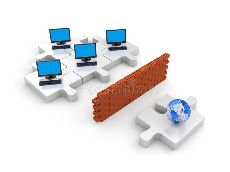 概念防火墙信息安全 向量例证