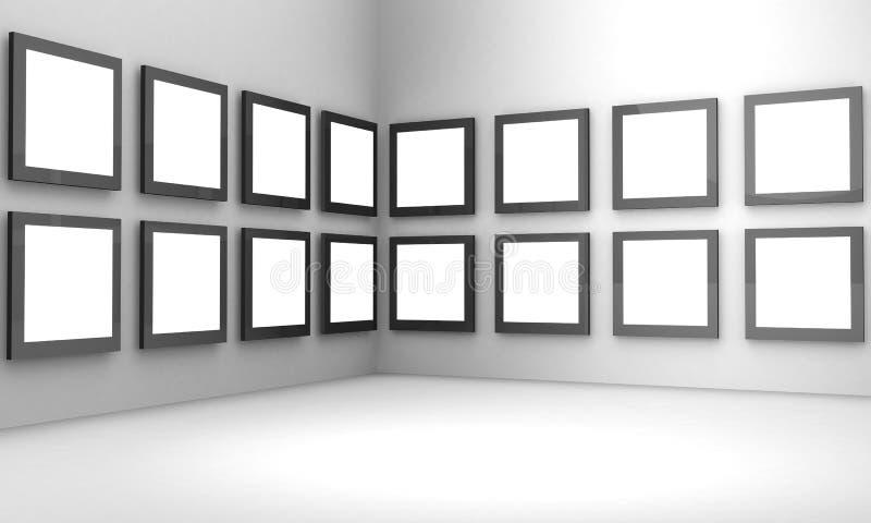 概念陈列画廊大厅照片 向量例证