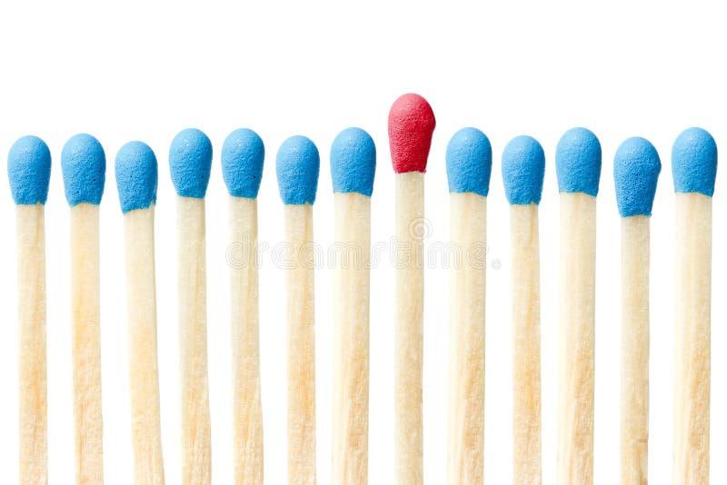 概念领导符合红色陈列 免版税库存图片