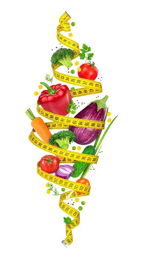 概念饮食 测量的磁带螺旋扭转菜 库存图片