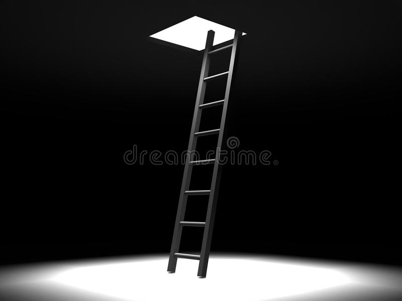 概念黑暗的梯子光成功 向量例证