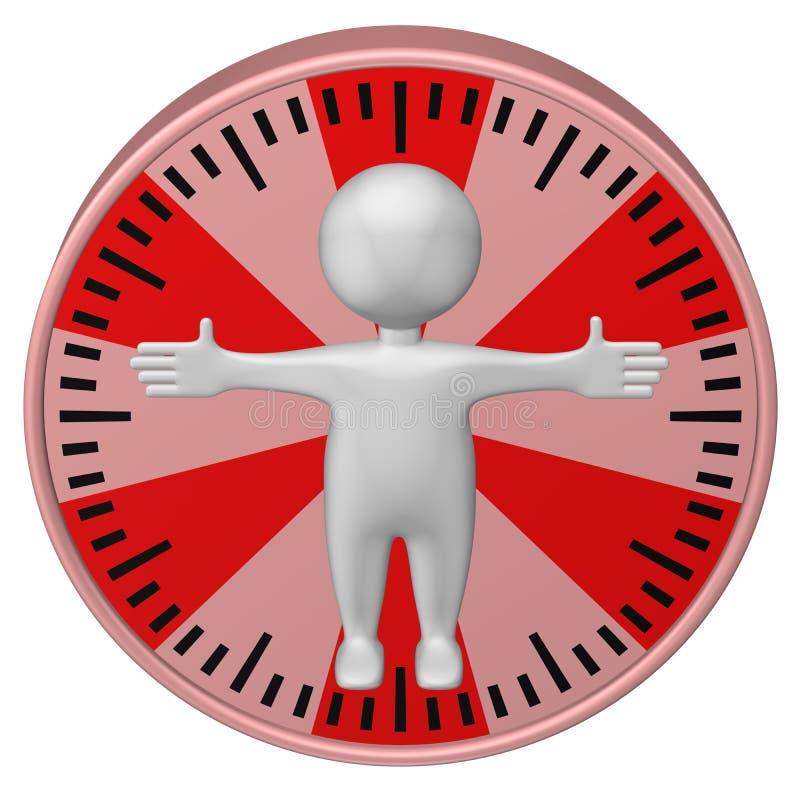 概念:工时 3d人和时钟表盘 3d翻译 向量例证