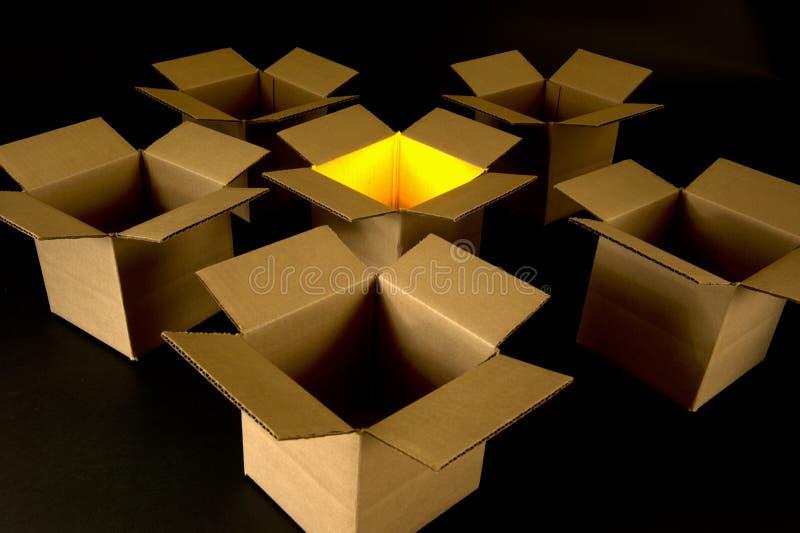概念: 认为在配件箱之外-是创造性的! 免版税库存照片