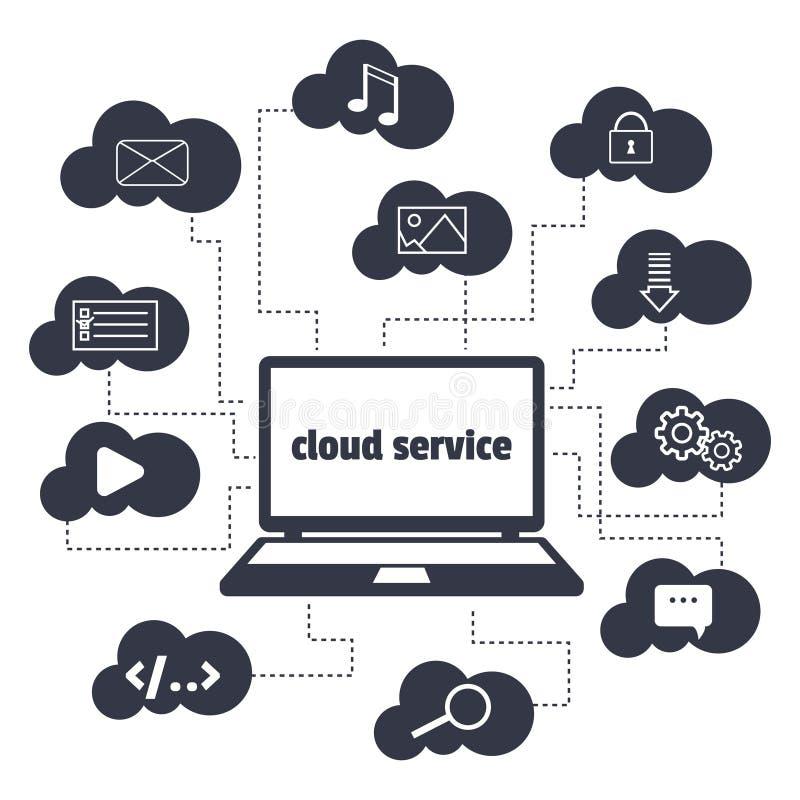 概念 云彩服务 打开膝上型计算机和各种各样的象在云彩  皇族释放例证