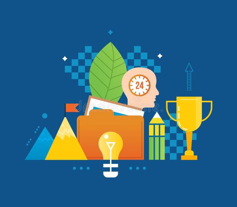 概念-创造性和创造性思为,想法,承诺,成功领导 库存例证