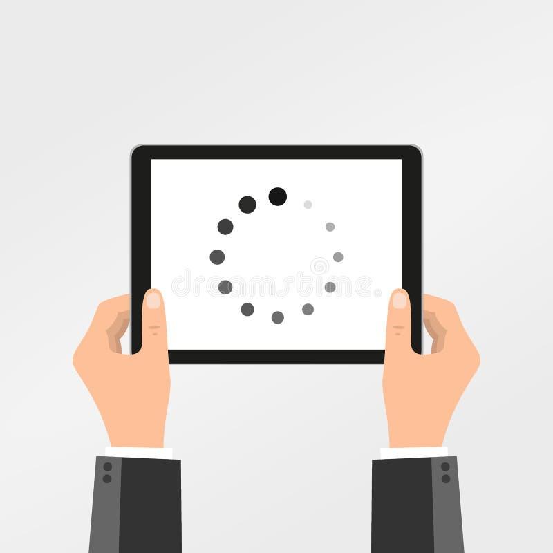 概念&创造性的装载过程状态传染媒介例证在智能手机等待的加载或下载在平的设计&两 库存例证