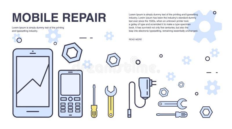 概念移动电话维修服务 与智能手机和工具的水平的横幅 为电子技术服务 五颜六色的向量 皇族释放例证
