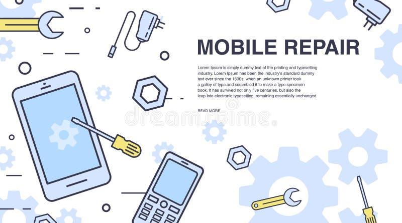 概念移动电话维修服务 与智能手机和工具的水平的横幅 为电子技术服务 五颜六色的向量 库存例证