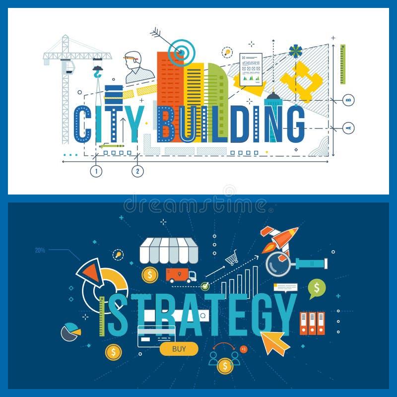 概念财政战略、经营分析和计划,楼房建筑 向量例证
