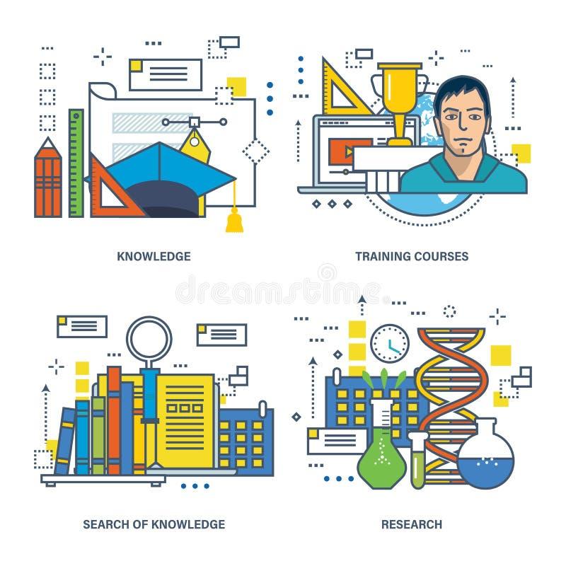 概念-教育、知识,研究工作的查寻和承购 库存例证