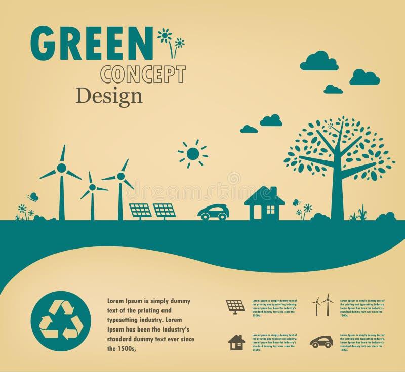 概念去绿色 保存世界传染媒介 向量例证