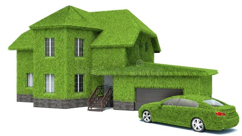概念绿色eco房子,隔绝在白色背景 向量例证