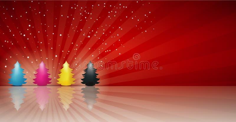 概念cmyk在深蓝洋红色黄色黑色的圣诞树 快活的圣诞节 红色背景 皇族释放例证