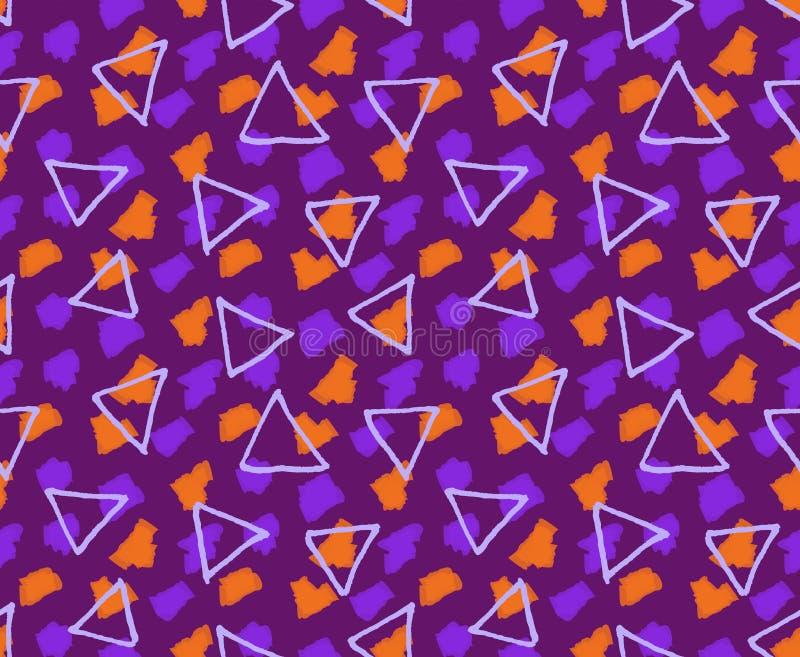 概略的三角构造与标志掠过紫色和桔子 皇族释放例证