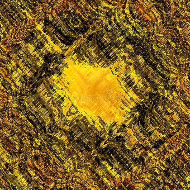 概略的轻拍冲程纹理 独特的抽象设计 网墙纸 葡萄酒样式墙壁 黑黄色难看的东西背景 混乱 皇族释放例证