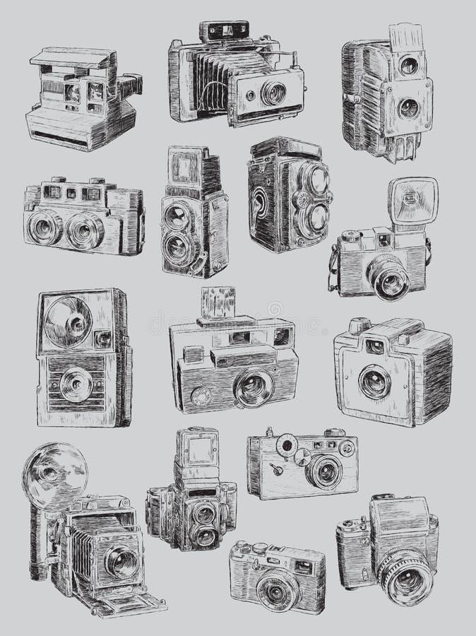 概略葡萄酒照相机集合 库存例证
