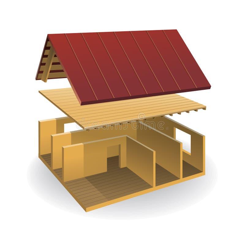 概要地解析的房子 向量例证