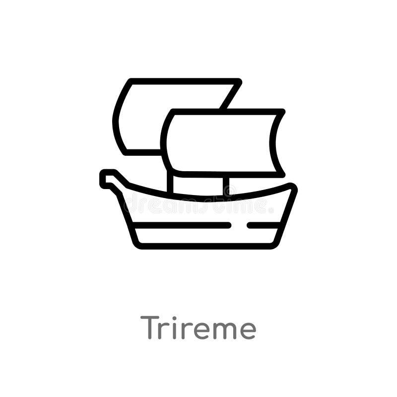 概述三层桨座之战船传染媒介象 E 编辑可能的传染媒介冲程三层桨座之战船 库存例证