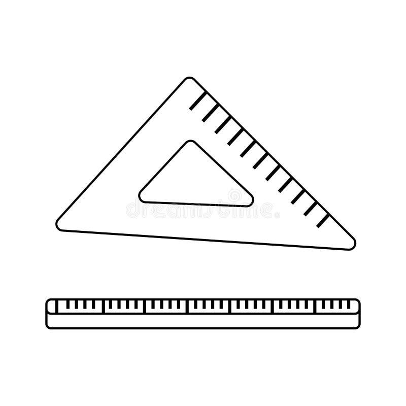 概述三角统治者象 测量标度工具 学校例证 向量例证