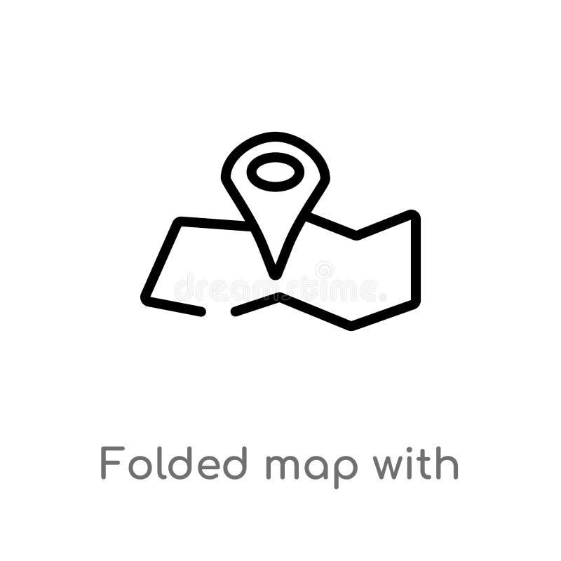 概述与位置标记传染媒介象的被折叠的地图 r 库存例证