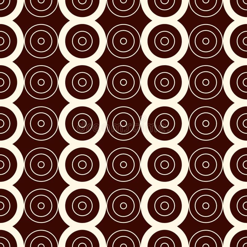 概述与垂直线和圈子的无缝的样式 重复的几何图装饰抽象背景 向量例证