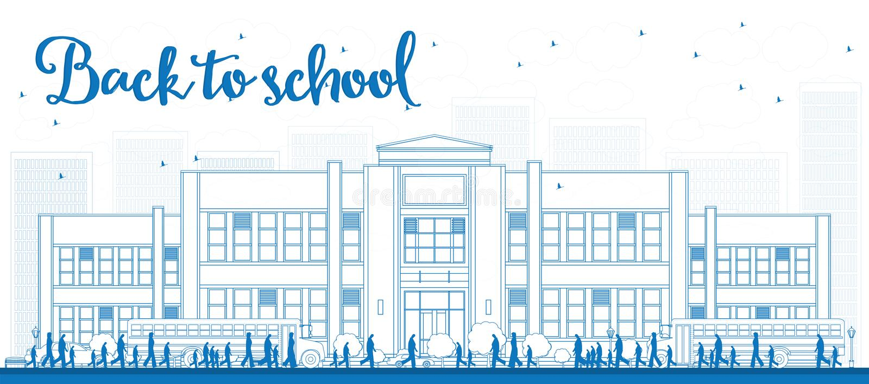 概述与校车、教学楼和人的风景 库存例证