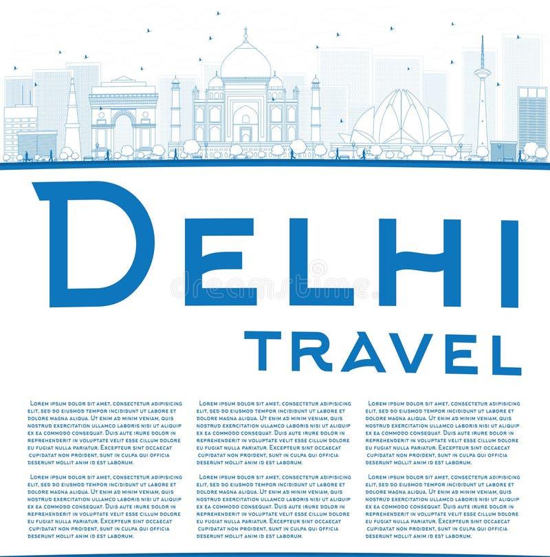 概述与蓝色地标的德里地平线并且复制空间 库存例证
