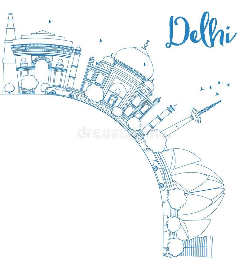 概述与蓝色地标的德里地平线并且复制空间 向量例证