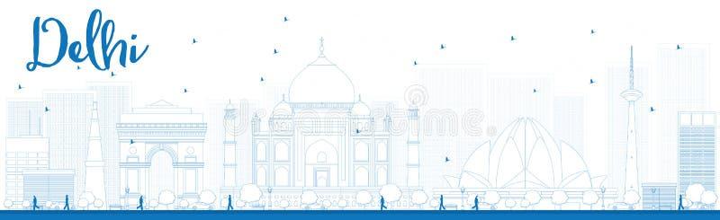 概述与蓝色地标的德里地平线 皇族释放例证