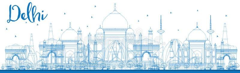 概述与蓝色地标的德里地平线 库存例证