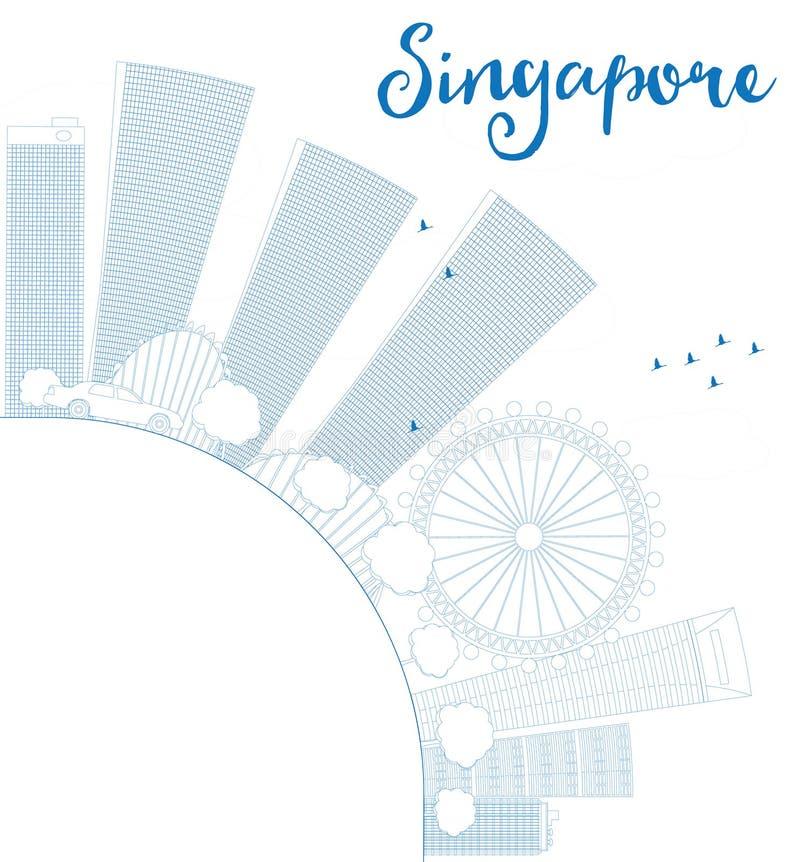 概述与蓝色地标的新加坡地平线并且复制空间 库存例证