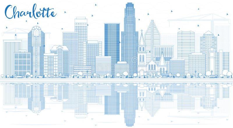 概述与蓝色大厦和反射的夏洛特地平线 向量例证
