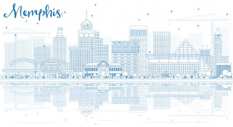 概述与蓝色大厦和反射的孟菲斯地平线 库存例证