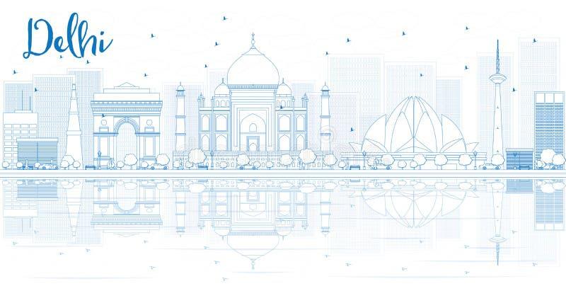 概述与蓝色大厦和反射的德里地平线 皇族释放例证