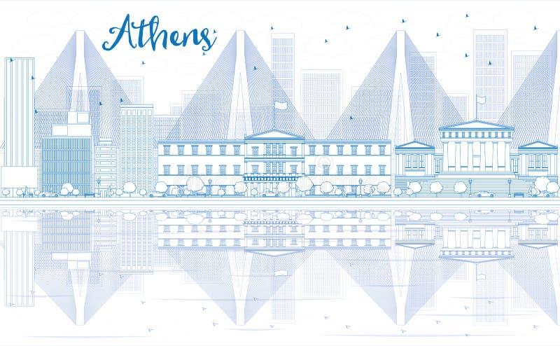 概述与蓝色大厦和反射的雅典地平线 库存例证