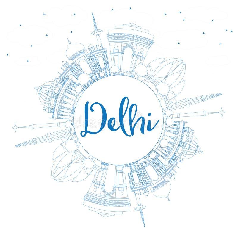 概述与蓝色大厦和拷贝空间的德里地平线 皇族释放例证