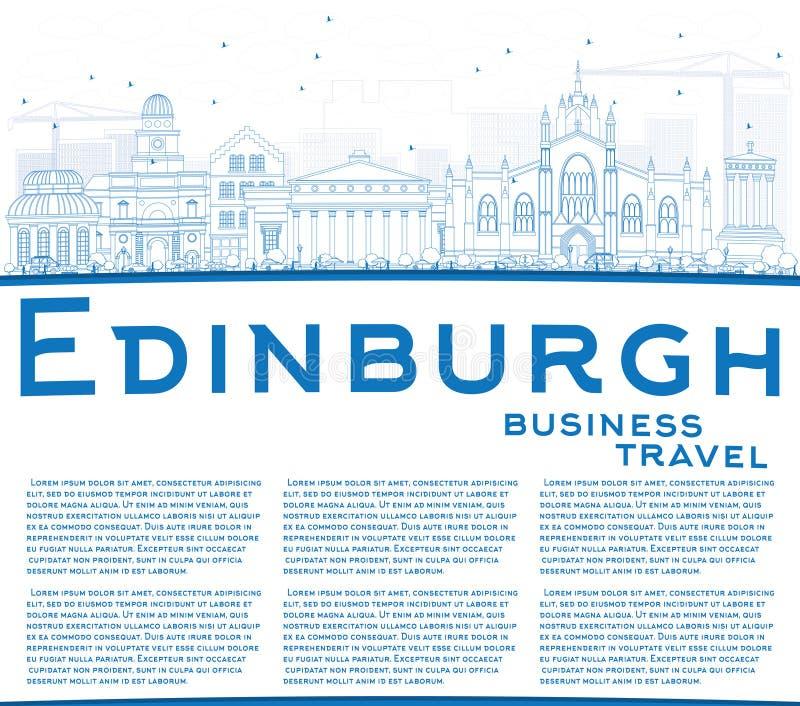 概述与蓝色大厦和拷贝空间的爱丁堡地平线 皇族释放例证