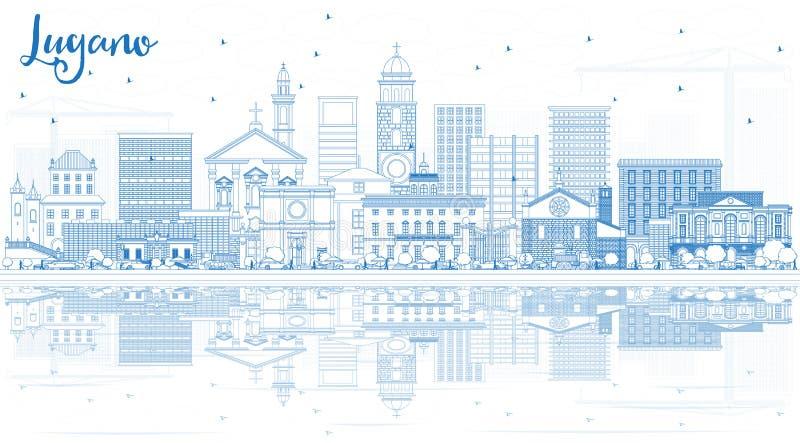概述与蓝色大厦和Refle的卢加诺瑞士地平线 皇族释放例证