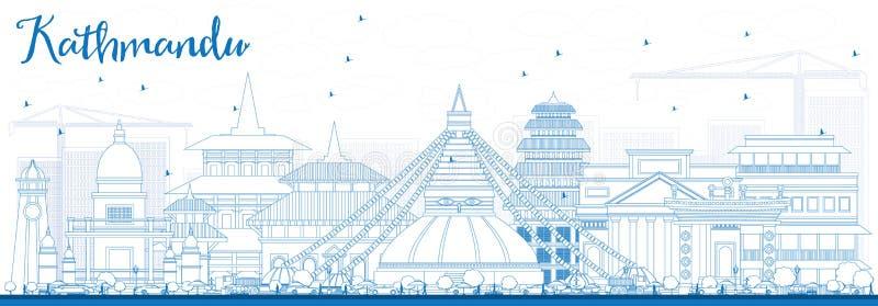 概述与蓝色大厦的加德满都地平线 向量例证